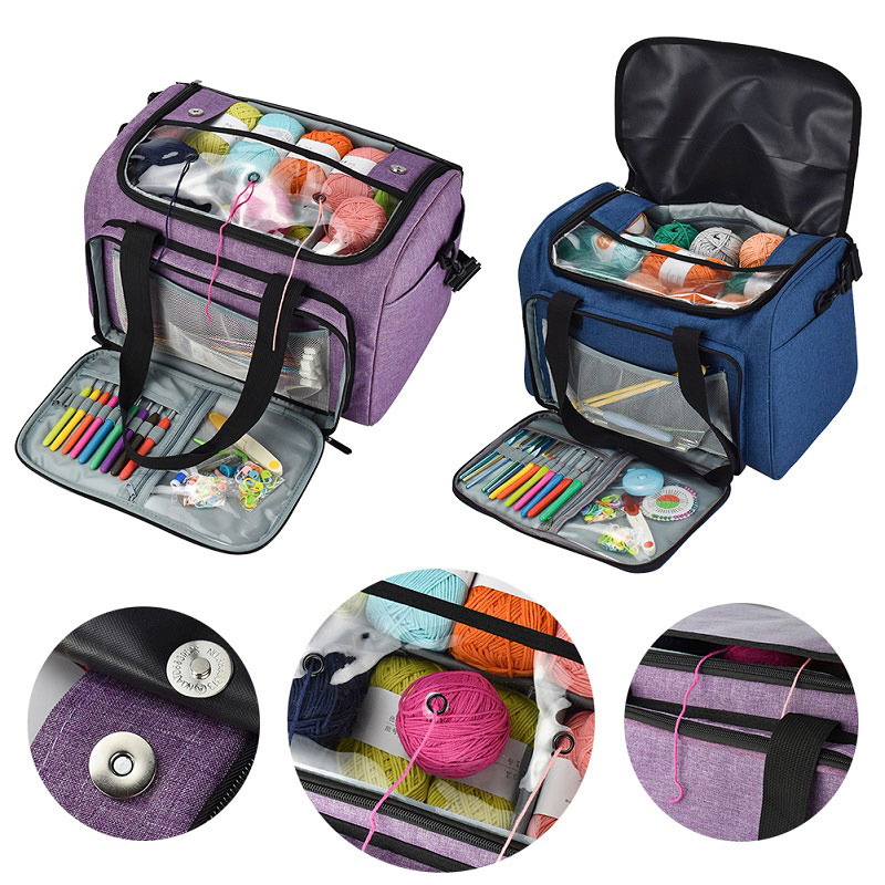 Knitting Needles Sewing Set DIY Storage Bag Crochet Hooks Thread Yarn Storage Bag DIY Organizer Holder Wool Crochet Hooks