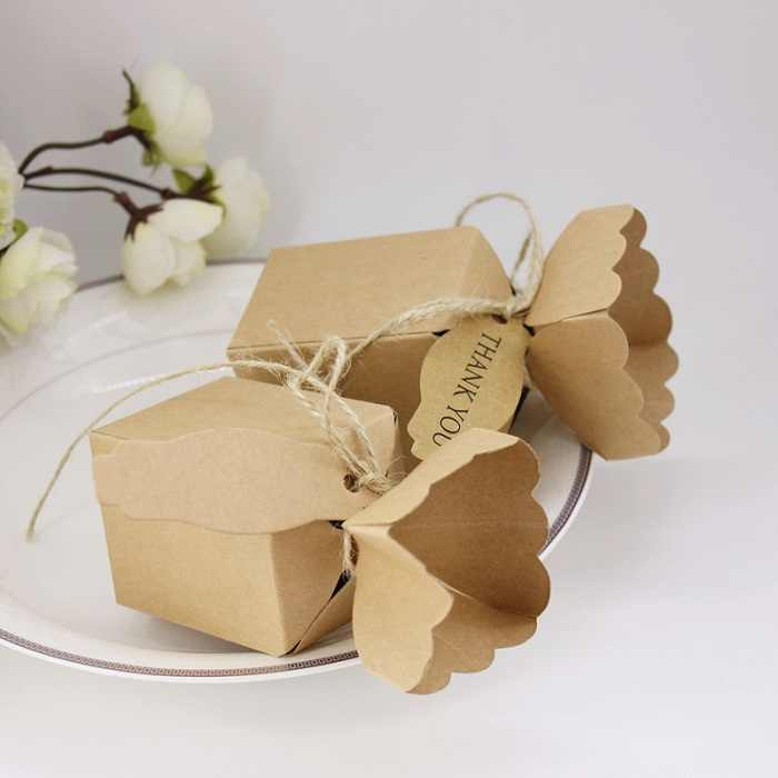 キャンディーボックスバッグチョコレート紙ギフトパッケージ用誕生日結婚式パーティーの好意の装飾用品diyクラフトブラウン紙ありがとうwh