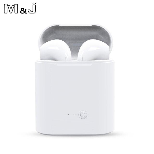 M & J i7s TWS Mini bezprzewodowe słuchawki Bluetooth Stereo słuchawki z pudełkiem ładowania Mic dla wszystkich Iphone z systemem Android Xiaomi huawei 2 sztuk