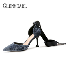 Brand Women Pumps High Heels Shoes Ankle Strap Retro Velvet Party Shoes Woman Spring Pointed Toe Bowtie Female Pumps Plus Size fedonas new high heels women pumps brand spring summer fashion ladies genuine leather shoes woman ankle strap pointed toe pumps