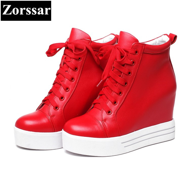{Zorssar} 2018 NEW fashion Women Boots cow leather Round Toe Casual Height increased platform ankle boots winter female shoes