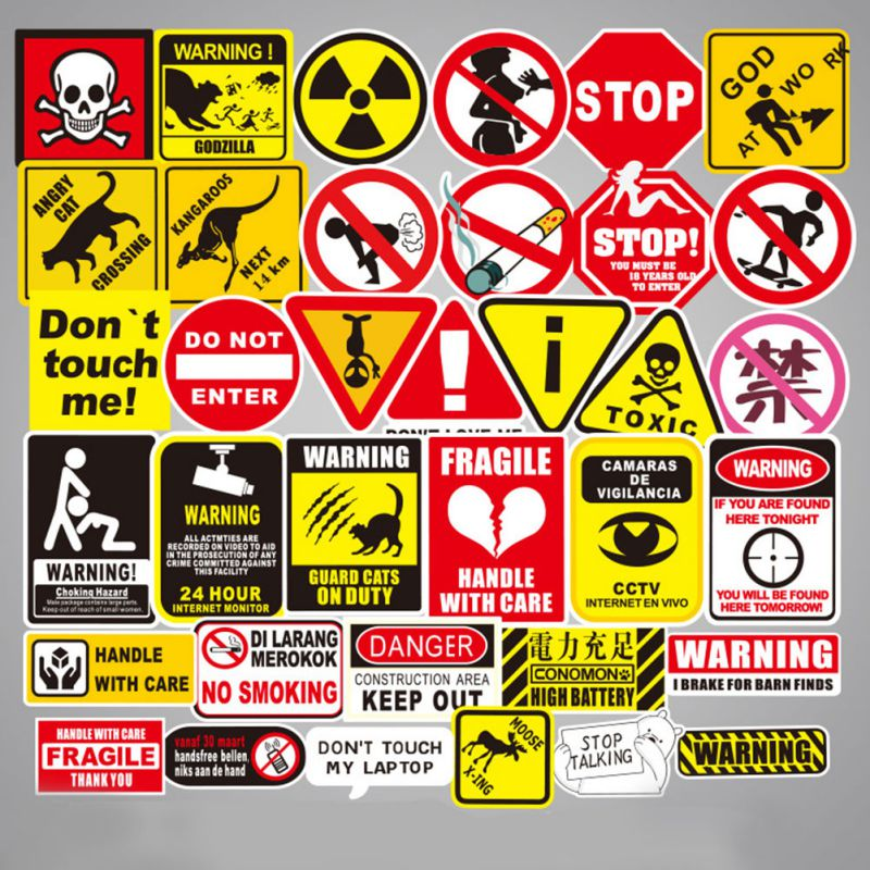 50 Sheets Warning Sign Warning Spoof Graffiti Sticker Trolley Case Car Sticker Can Be Moved