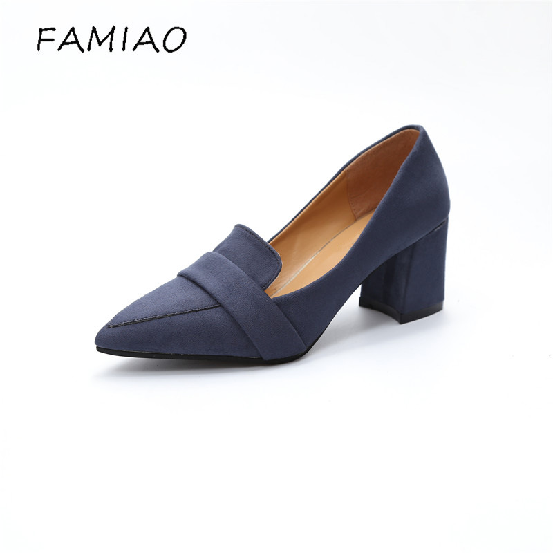 FAMIAO High Heels Shoes Women Pumps Party Shoes Fashion Thick High Heels Pointed Toe Flock Ladies Shoes blue black pumps memunia flock pointed toe ladies summer high heels shoes fashion buckle color mixing women pumps elegant lady prom shoes