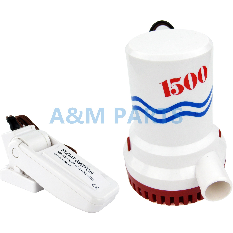 Pompe à eau Submersible de Yacht de bateau marin de pompe de cale de 12V 1500GPH avec le commutateur de flotteur