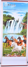 New feng shui 8 Horse Chinese Printing Picture Wall Scroll Art-for success(China)