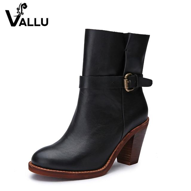 2017 Ретро Стиль на высоком каблуке Сапоги и ботинки натуральная кожа пряжка женские зима-осень Обувь три Цвет