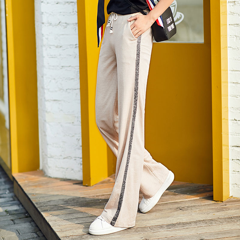 Women Casual Loose   Wide     Leg     Pants   2019 New Summer High Waist Full Length Baggy   Pants   Women Plus Size Streetwear Palazzo   Pants