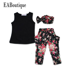 EABoutique Summer style Girls Fashion floral casual suit children clothing set sleeveless outfit +headband  new kids clothes set