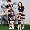 Южной кореи мать и Дети Лето Хлопок полосой мозаика мать дочь семьи Футболку