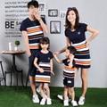 La madre y Los Niños Del Verano de Corea del sur Algodón de la raya mosaico de madre e hija de la familia T-shirt