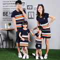 Mãe e Filhos da Coréia do sul Verão T-shirt de Algodão da listra mosaico mãe filha família
