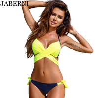 JABERNI Push Up Bikini 2017 Cross Patchwork Women Swimwear Swimsuit Halter Top Print Maillot Biquini Bathing