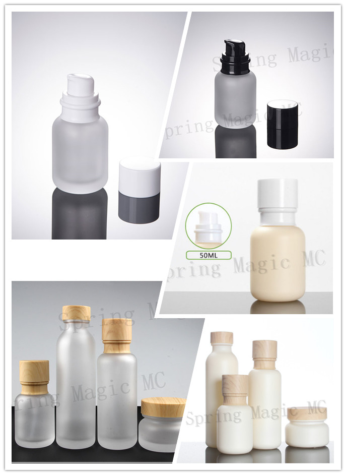 50PCS 50ML Frosted Glass Bottles With Wood Grain/White/Black Lid Portable pump Lotion Glass Bottle Empty Cosmetic Containers-in Refillable Bottles from Beauty & Health    1