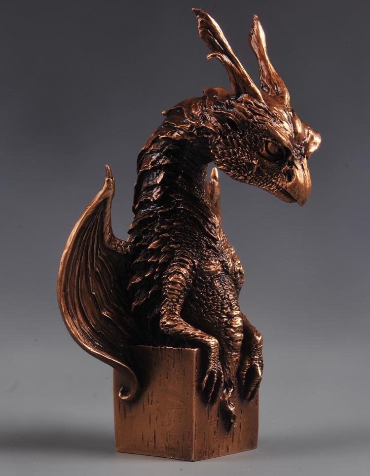 OGRM artisanat en Bronze bébé Dragons Siron modèle décoration Statue Bronze Dragon Sculpture