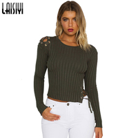LAISIYI 2018 Spring Autumn Knitted T Shirt Crop Top Tees Long Sleeve Solid Tshirt Women Slim