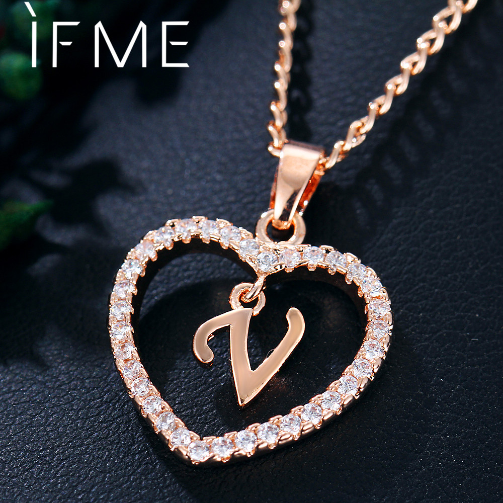 IF ME Crystal Letter V Pendant Necklaces for Women Statement Charm Necklace Rose Gold Silver Color Female Jewelry Gifts 2018 New