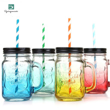 цена 2017 Fruit Mason Cup Bottle  Drink Infusion Colored Bar Coffee Water bottl Office Lover beer wine Glass jar with handle glass онлайн в 2017 году