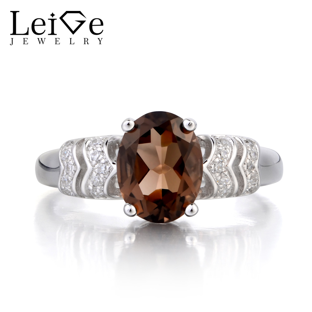 Leige Jewelry Cocktail Party Ring Real Natural Smoky Quartz Ring Oval Cut Brown Gemstone 925 Sterling Silver Ring Gift for Women цена