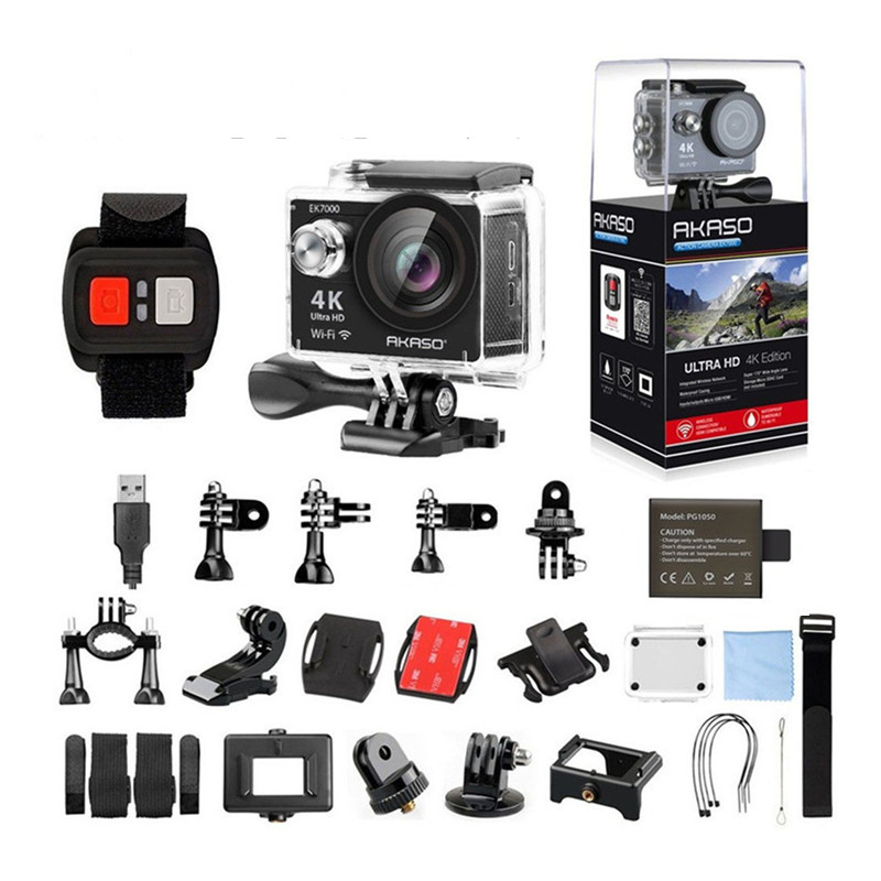 AKASO EK7000 4k WIFI Outdoor Sport Action Camera Ultra HD Waterproof DV Camcorder 12MP Extreme Underwater 1080p 60fps Video Cam eken h8 h8r ultra hd 4k 30fps wifi action camera 30m waterproof 12mp 1080p 60fps dvr underwater go helmet extreme pro sport cam