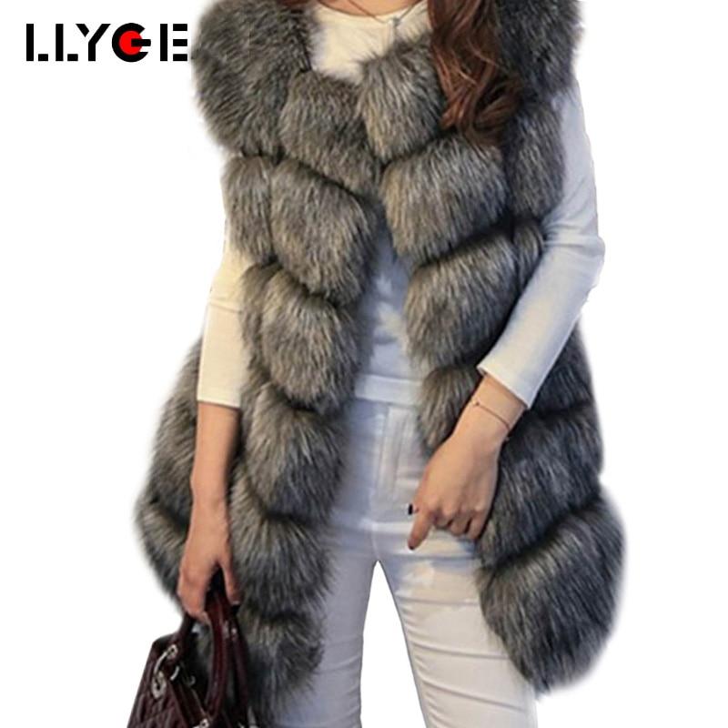 LLYGE invierno Chaleco de piel de lujo Chic peludo Faux Fur Coat mujeres gruesas chaqueta sin mangas caliente damas elegante Outwear Plus tamaño