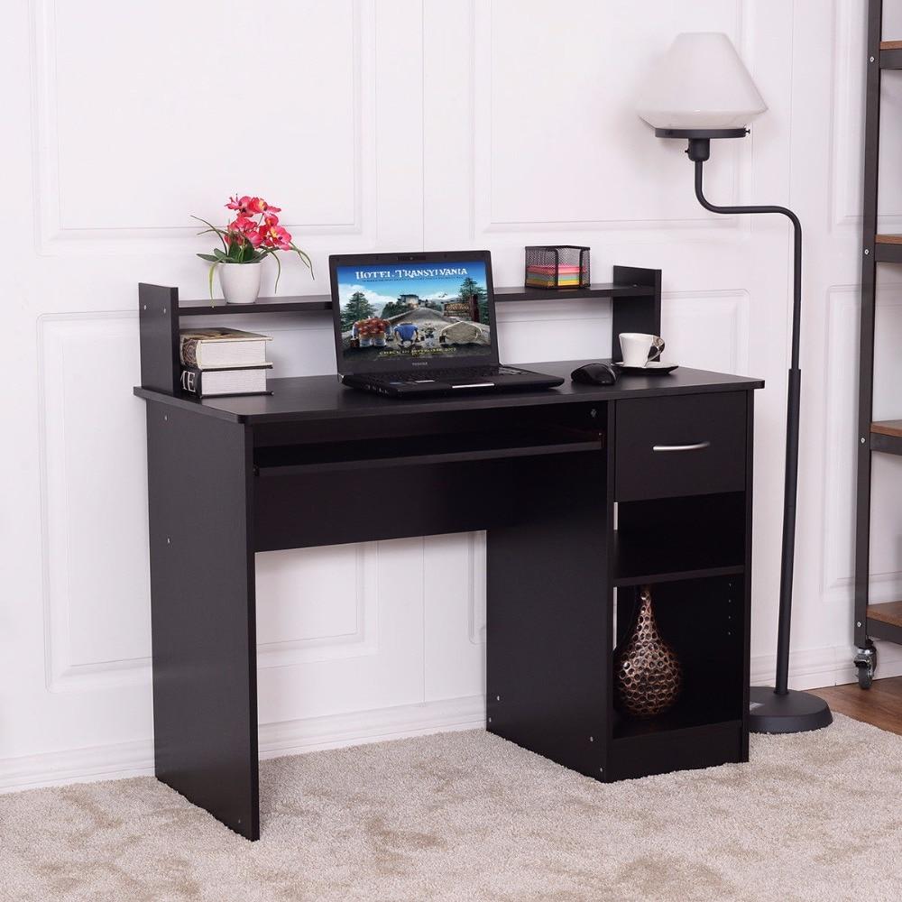 Giantex modern wood computer desk workstation with drawer shelf storage home office furniture hw54810bk in laptop desks from furniture on aliexpress com