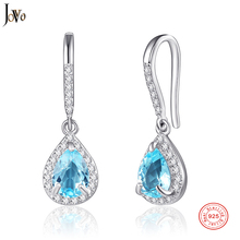 JOVO Natural Colored Gemstone Drop of Water Earrings Fine Jewelry Earrings For Women 925 Sterling Silver Fancy Colored Sapphire все цены