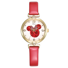 Disney бренда Детей Кварцевые часы 30 м водонепроницаемый Микки дети часы девушка Аниме Мультфильм Алмаз Лук часы
