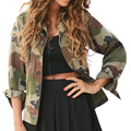 Womens arm Tops Casual Fashion Women Camouflage Jacket Sheath Outerwear Vogue Coat womens Tops DM#6