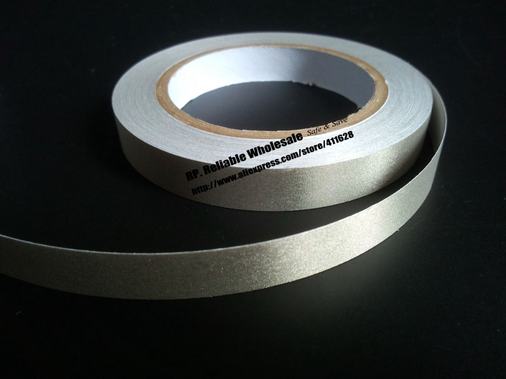 1x 16mm* 20 meters, Conductive Fabric Adhesive Tape Silver, Single Adhesive  EMI EMC Shielding 1x 8mm 20m emi shielding tape silver plain conductive fabric for pc phone cable wraping electromagnetic shielding
