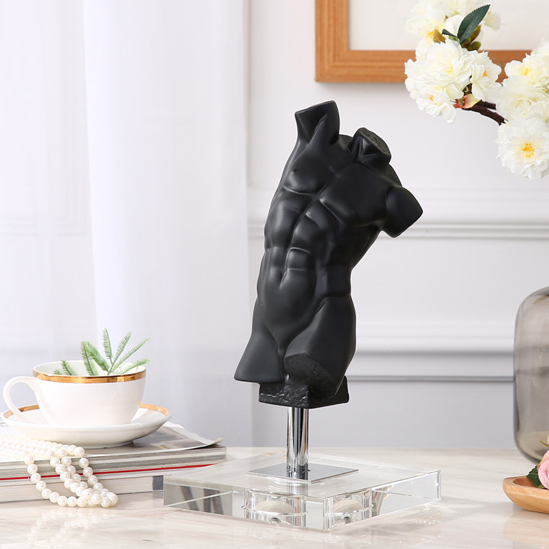 Corps humain européen Sculpture décor salon étude bureau caractère noir Art modèle chambre porche décor M1452