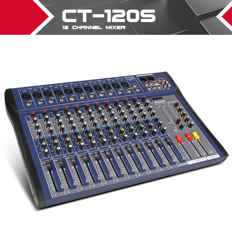 Xtuga CT120S USB 12 Channels Mic Line Audio Mixer Mixing Console USB XLR Input 3 band