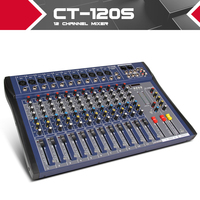 Xtuga CT120S USB 12 Channels Mic Line Audio Mixer Mixing Console USB XLR Input 3 band EQ 48V Phantom Power with Power Adapter