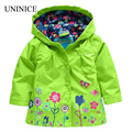 2017 spring new baby girls outwear windbreak jacket coat for kids brand flower coat hoody children weatherproof custom clothes