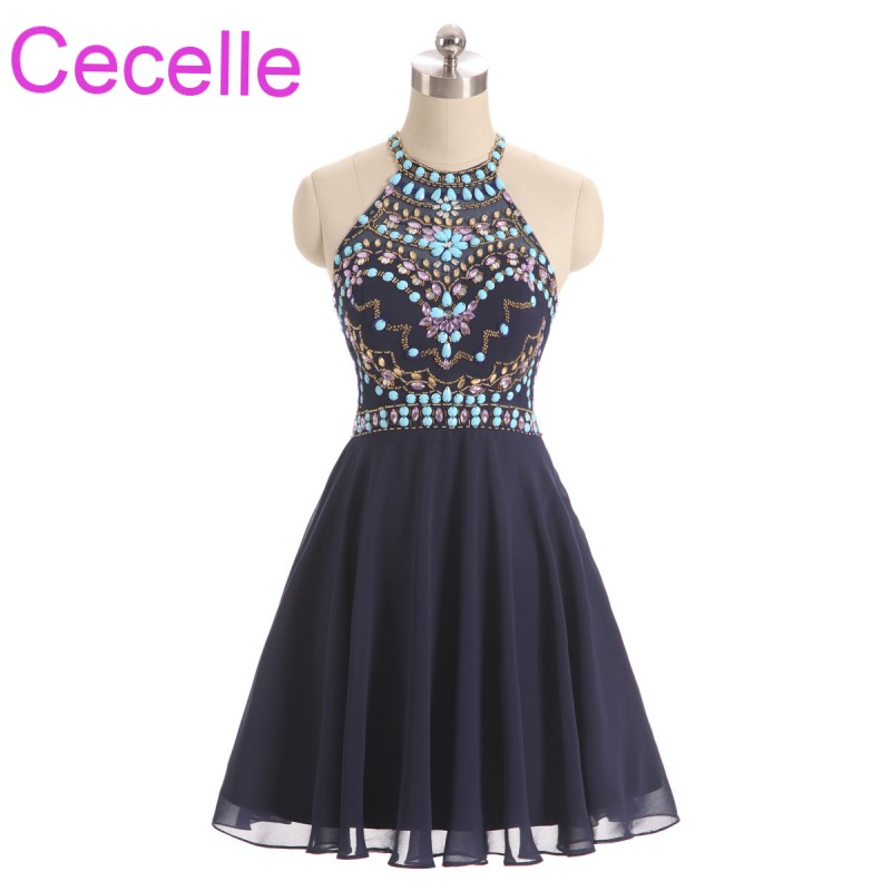Navy Blue Chiffon Short Cocktail Dresses 2019 Halter Crystals Top A