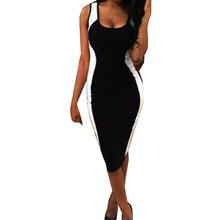 40dd5575a Las mujeres de rayas blanco y negro ajustado gran código vestido Sexy  Womens camisola o-Cuello de moda vestidos de fiesta vestid.