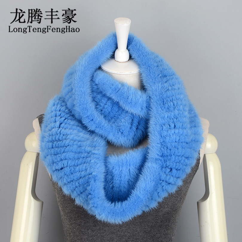 70cm Ring Knitted Scarves 100% Natural Fur Genuine Fur Scarves wraps Women Scarves ladies mink fur shawls for women wraps Fur