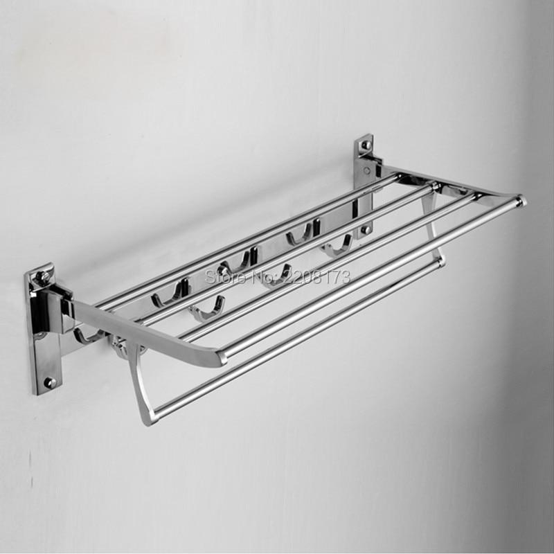 Free Shipping High Quality Bathroom Towel Racks Double Towel Rack Wall  Mounted Stainless Steel Towel Shelf