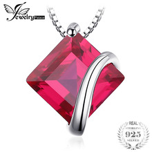 JewelryPalace Classic Square Red Ruby Pendants 925 Sterling Silver Pendants Necklaces Without Chain Fashion Women Jewelry