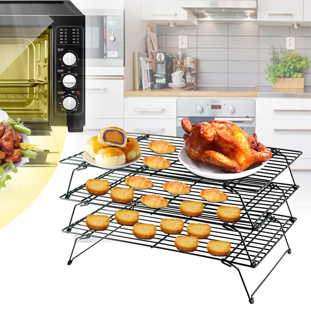 3 Tier Stackable Cooling Baking Cake Biscuit Tray Rack Space Saving Cake Stand Rack Net Cooler Holder Cookies BBQ Baking Tools