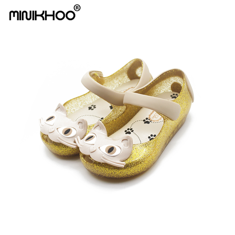 Mini Melissa 3 Color Cats Girls Jelly Sandals 2018 New Children Shoes Baby Sandals Girls Melissa Beach Sandals Comfortable