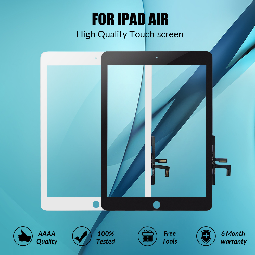 New For IPad Air 1 IPad 5 Touch Screen Digitizer With Home Button Front Glass Display Touch Panel Replacement A1474 A1475 A1476