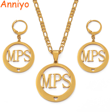 Anniyo Heart MPS Name Necklace and Earrings Jewelry sets for Women Gold Color Jewellery (CAN NOT CUSTOMIZE THE NAME) #036021
