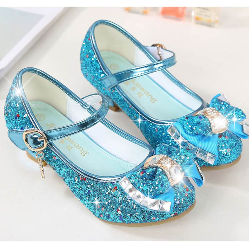 Image 2 - Princess Kids Leather Shoes for Girls Flower Casual Glitter Children High Heel Girls Shoes Butterfly Knot Blue Pink Silver-in Sandals from Mother & Kids