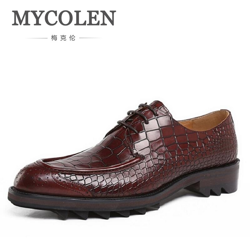 MYCOLEN Men Flats Brand High Quality Genuine Leather Stone Pattern Shoes Men Lace-Up Business Dress Shoes Thick Bottom Oxfords 2017 men flats fashion high quality genuine leather shoes men lace up business men shoes men dress shoes summer oxfords spring