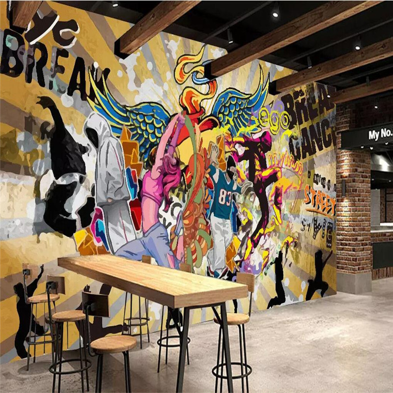 Hip hop street dance street graffiti personality music background wall professional production wallpaper mural in Wallpapers from Home Improvement