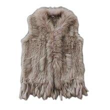 Настоящий Женский вязаный жилет из кроличьего меха, отделка мехом енота, жилет, зимняя меховая куртка harppihop