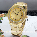 Fashion PAIDU Brand Crystal Case Gold Plated Round Dial Quartz Men's Women Lady Girl Wrist Stainless Steel Band Watch Q0857