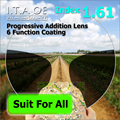 Adult 1.61 Freeform Index Progressive Addition Multifocal Optical Prescription Lens Glasses For Eyewear With 6 Function Coating