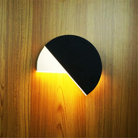 bedroom bedside porch balcony rotatable wall lamp led light modern white black round sconce wall lighting lamp fixture