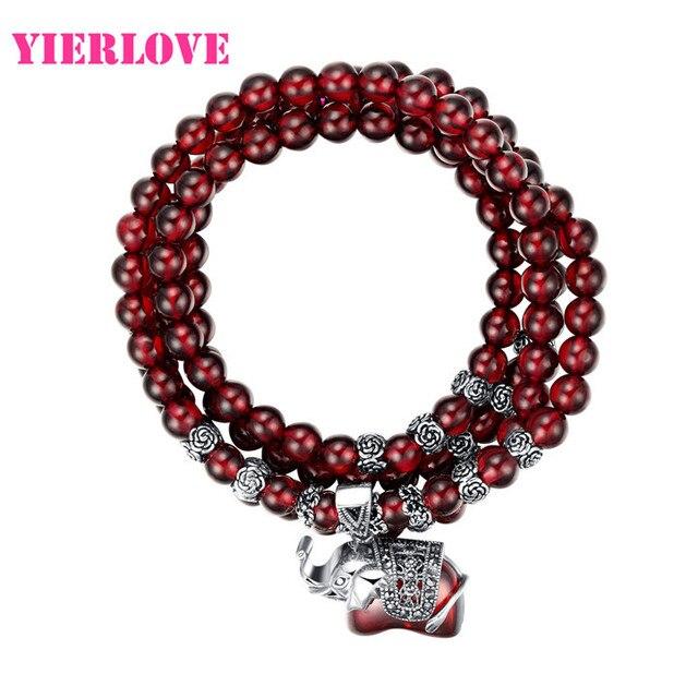 Yierlove 2015 moda vinho natural granada pulseira de alta qualidade para mulheres